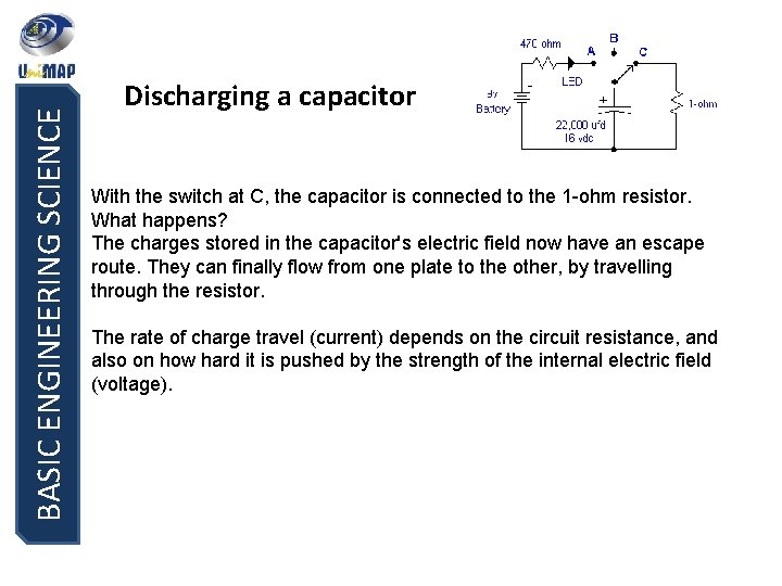 BASIC ENGINEERING SCIENCE Discharging a capacitor With the switch at C, the capacitor is