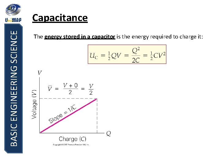 BASIC ENGINEERING SCIENCE Capacitance The energy stored in a capacitor is the energy required