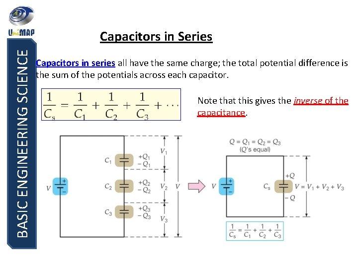 BASIC ENGINEERING SCIENCE Capacitors in Series Capacitors in series all have the same charge;