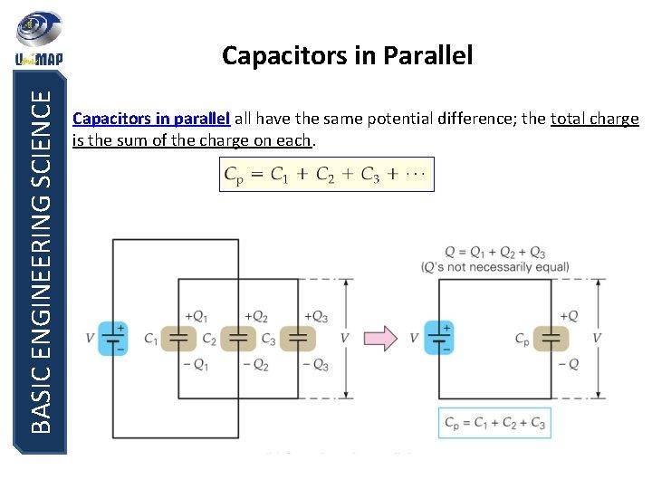BASIC ENGINEERING SCIENCE Capacitors in Parallel Capacitors in parallel all have the same potential