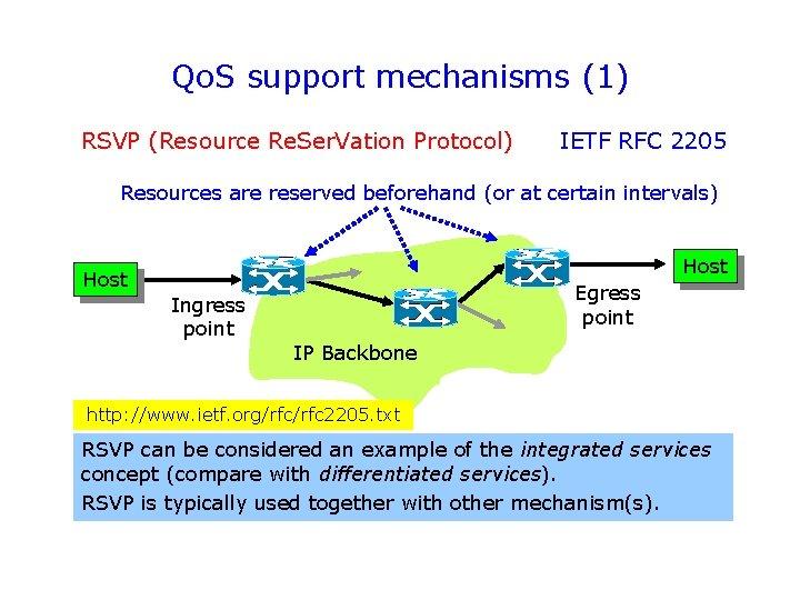 Qo. S support mechanisms (1) RSVP (Resource Re. Ser. Vation Protocol) IETF RFC 2205
