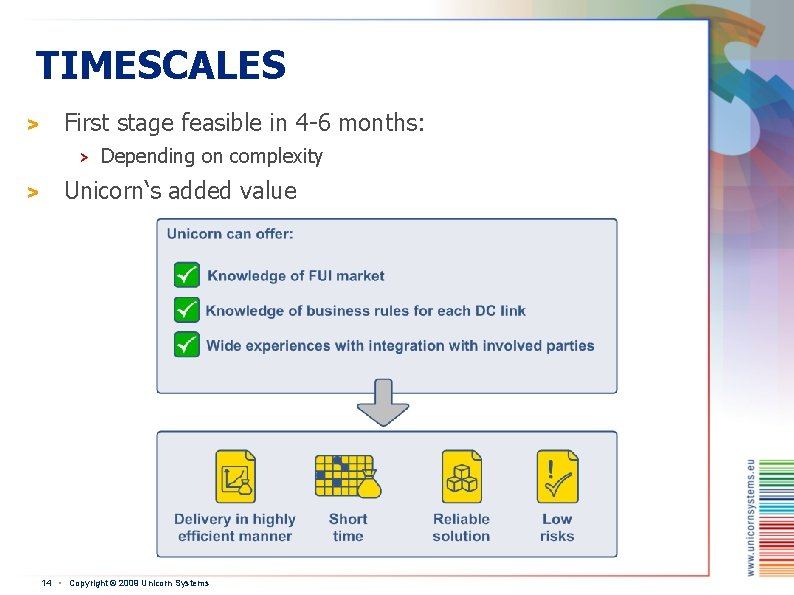 TIMESCALES > First stage feasible in 4 -6 months: > > Depending on complexity