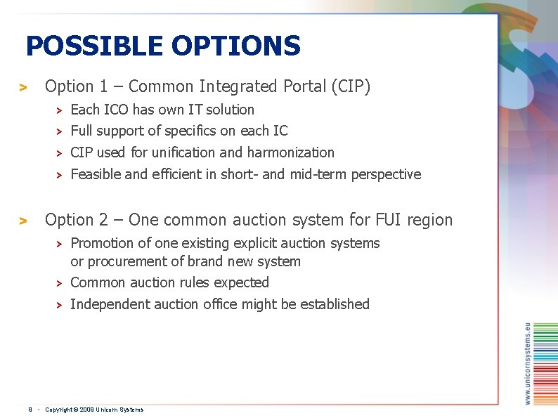 POSSIBLE OPTIONS > > Option 1 – Common Integrated Portal (CIP) > Each ICO