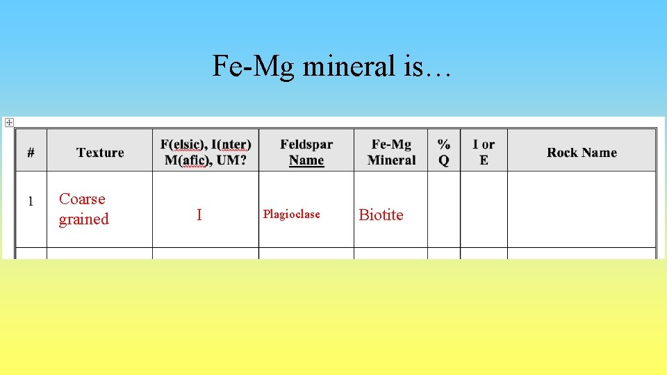 Fe-Mg mineral is… Coarse grained I Plagioclase Biotite