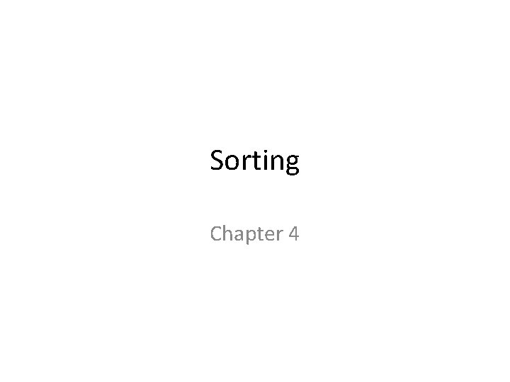 Sorting Chapter 4