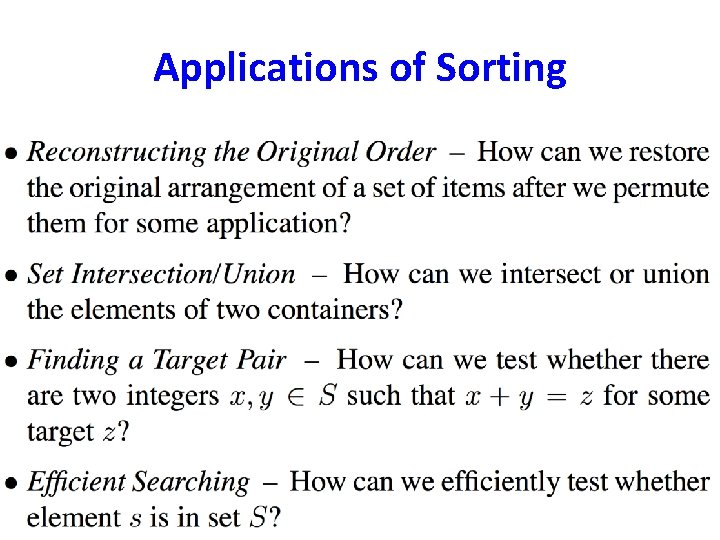 Applications of Sorting