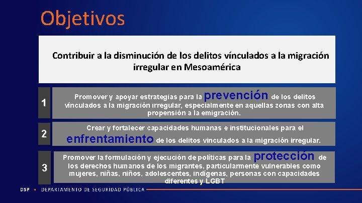Objetivos Contribuir a la disminución de los delitos vínculados a la migración irregular en