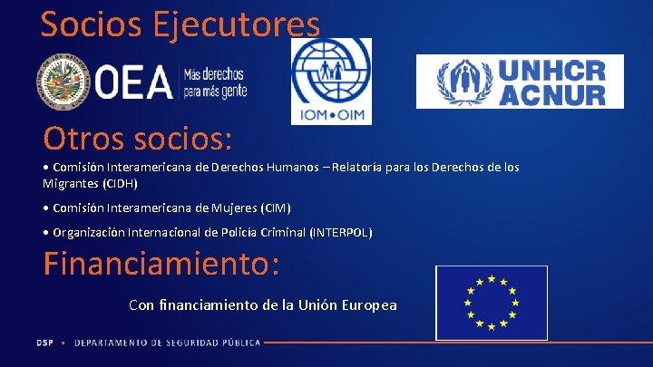 Socios Ejecutores Otros socios: • Comisión Interamericana de Derechos Humanos – Relatoría para los