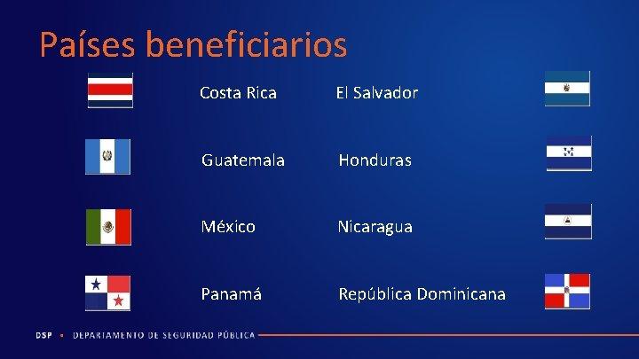 Países beneficiarios Costa Rica El Salvador Guatemala Honduras México Nicaragua Panamá República Dominicana