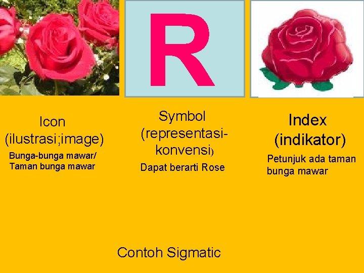 R Icon (ilustrasi; image) Bunga-bunga mawar/ Taman bunga mawar Symbol (representasikonvensi) Dapat berarti Rose