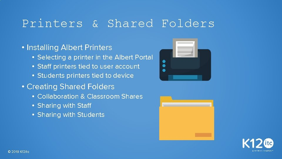 Printers & Shared Folders • Installing Albert Printers • Selecting a printer in the