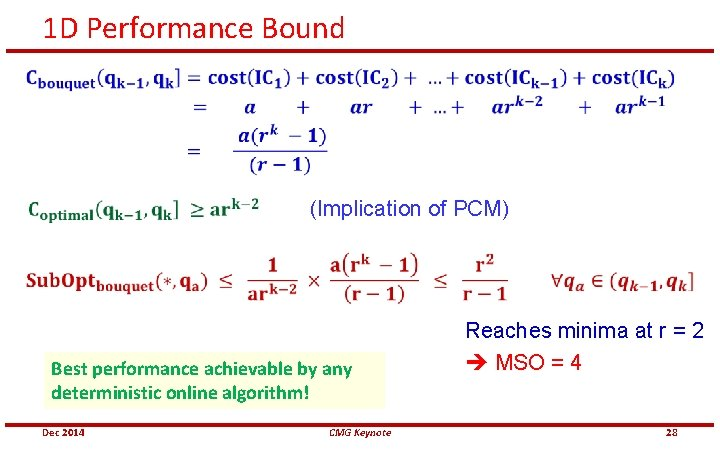 1 D Performance Bound (Implication of PCM) Best performance achievable by any deterministic online