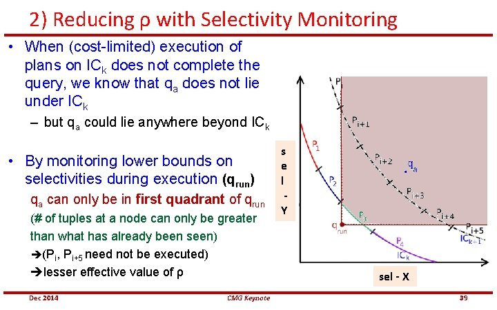 2) Reducing ρ with Selectivity Monitoring • When (cost-limited) execution of plans on ICk