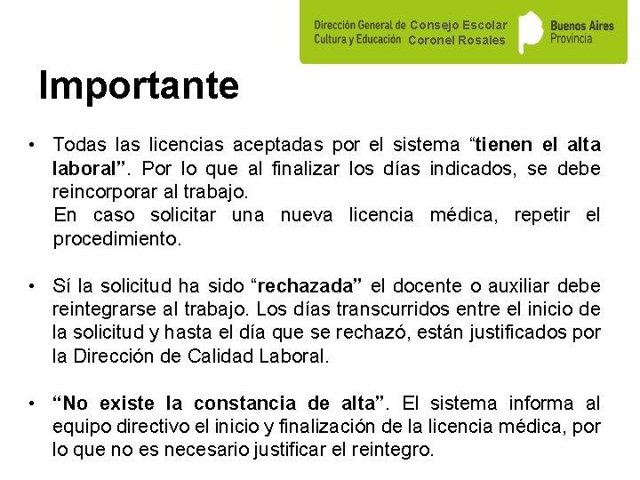 """Consejo Escolar Coronel Rosales Importante • Todas licencias aceptadas por el sistema """"tienen el"""