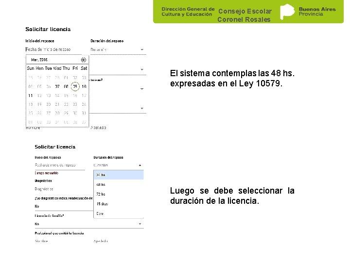 Consejo Escolar Coronel Rosales El sistema contemplas 48 hs. expresadas en el Ley 10579.