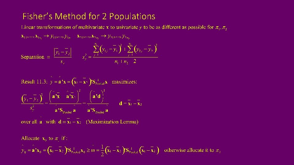 Fisher's Method for 2 Populations