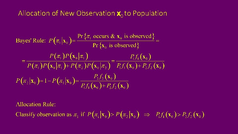 Allocation of New Observation x 0 to Population