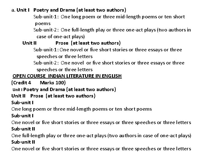 a. Unit I Poetry and Drama (at least two authors) Sub-unit-1: One long poem