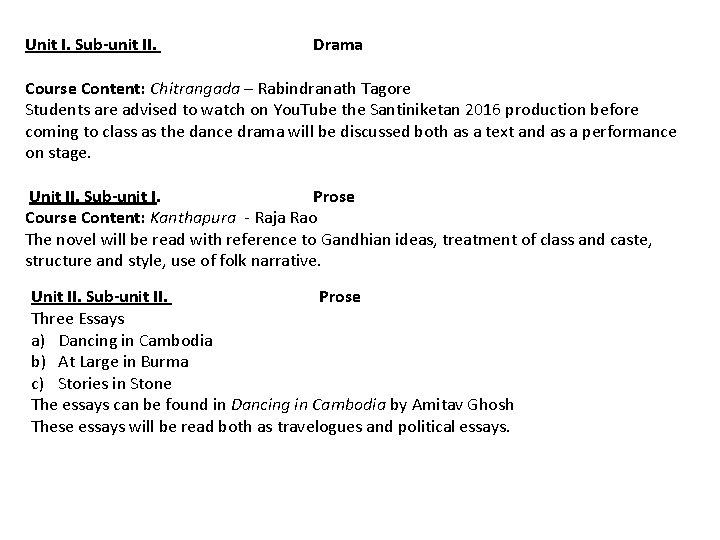 Unit I. Sub-unit II. Drama Course Content: Chitrangada – Rabindranath Tagore Students are advised