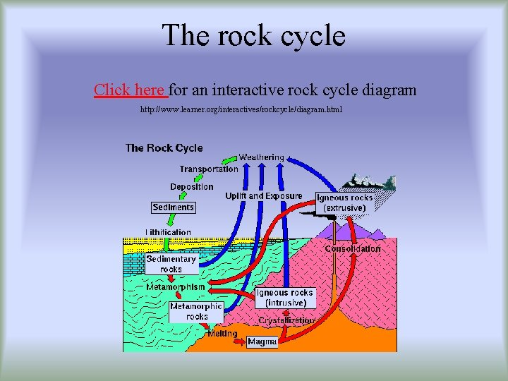 The rock cycle Click here for an interactive rock cycle diagram http: //www. learner.