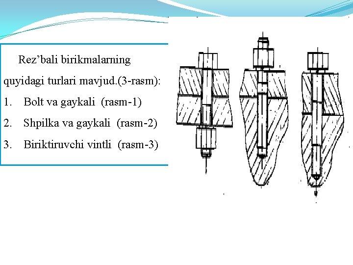 Rez'bali birikmalarning quyidagi turlari mavjud. (3 -rasm): 1. Bolt va gaykali (rasm-1) 2.