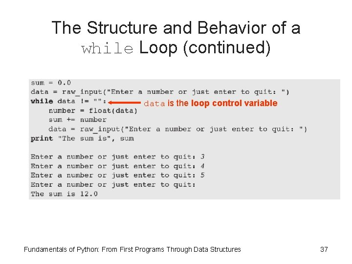 The Structure and Behavior of a while Loop (continued) data is the loop control