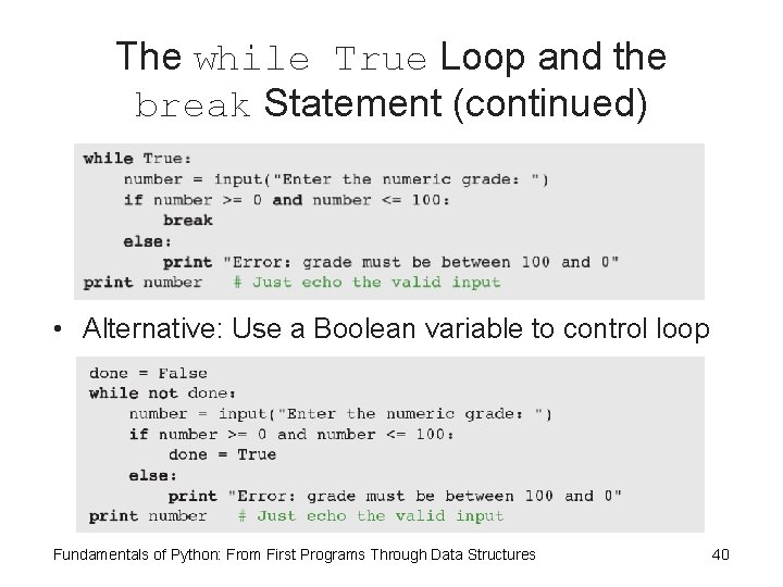 The while True Loop and the break Statement (continued) • Alternative: Use a Boolean