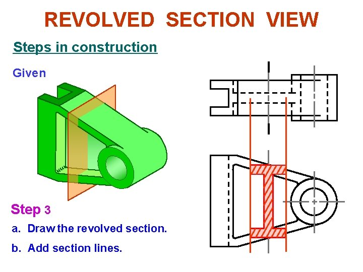 REVOLVED SECTION VIEW Steps in construction Given Step 3 a. Draw the revolved section.