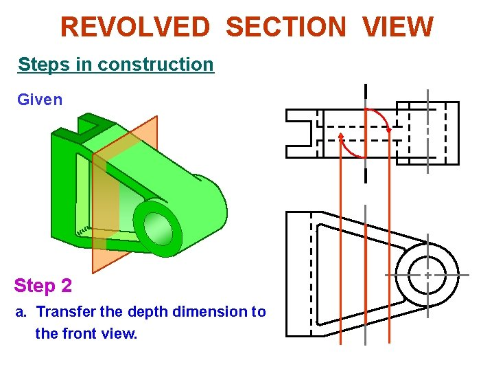 REVOLVED SECTION VIEW Steps in construction Given Step 2 a. Transfer the depth dimension