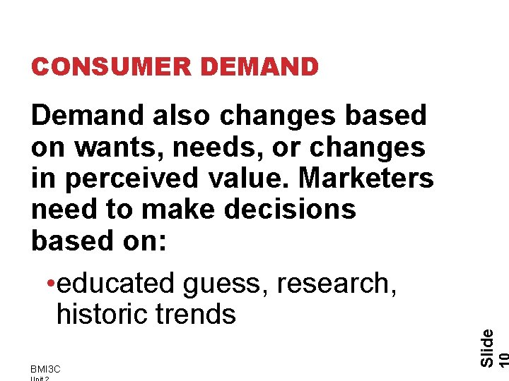 Demand also changes based on wants, needs, or changes in perceived value. Marketers need