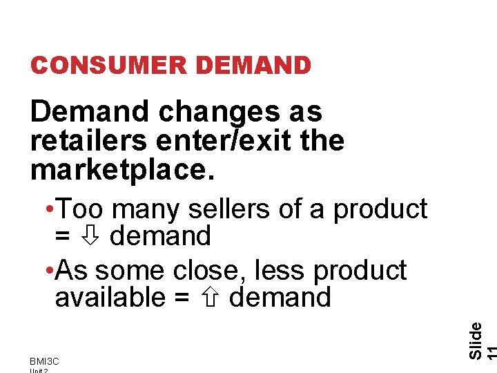 CONSUMER DEMAND Demand changes as retailers enter/exit the marketplace. BMI 3 C Slide •