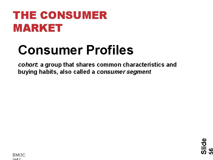 THE CONSUMER MARKET Consumer Profiles BMI 3 C Slide cohort: a group that shares