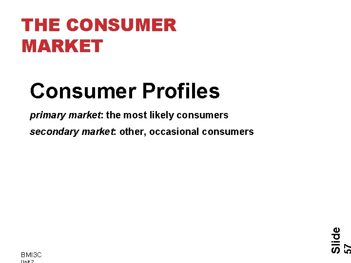 THE CONSUMER MARKET Consumer Profiles primary market: the most likely consumers BMI 3 C