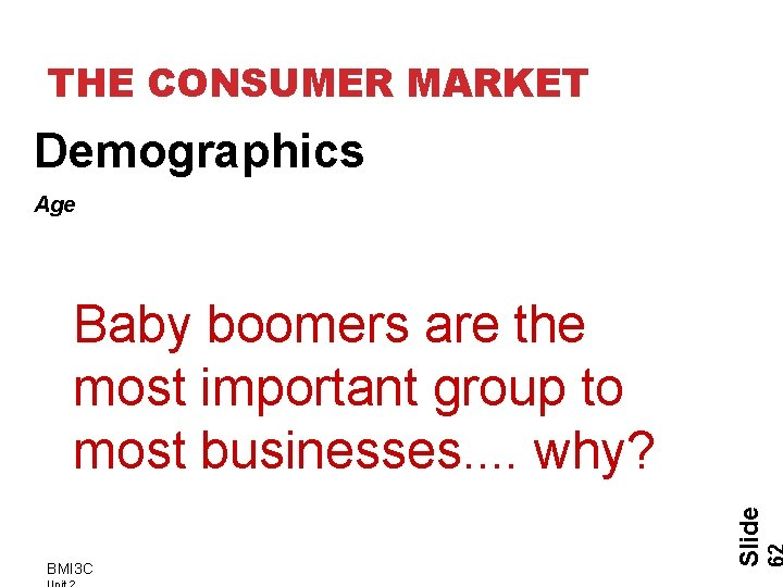 THE CONSUMER MARKET Demographics Age BMI 3 C Slide Baby boomers are the most