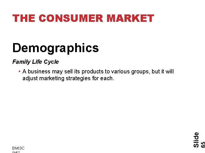 THE CONSUMER MARKET Demographics Family Life Cycle BMI 3 C Slide • A business
