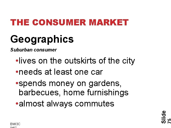 THE CONSUMER MARKET Geographics Suburban consumer BMI 3 C Slide • lives on the