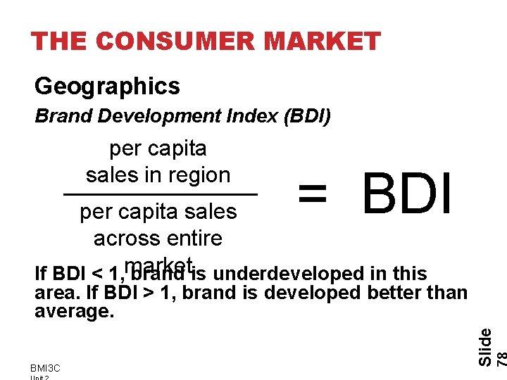THE CONSUMER MARKET Geographics Brand Development Index (BDI) per capita sales in region =