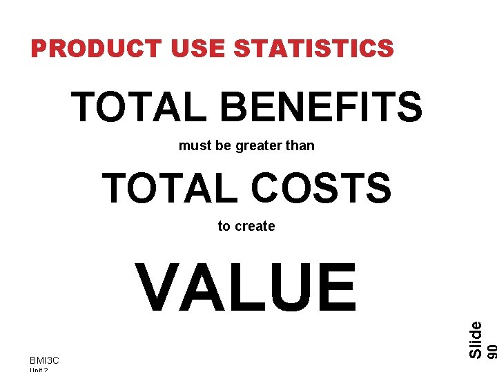 PRODUCT USE STATISTICS TOTAL BENEFITS must be greater than TOTAL COSTS VALUE BMI 3
