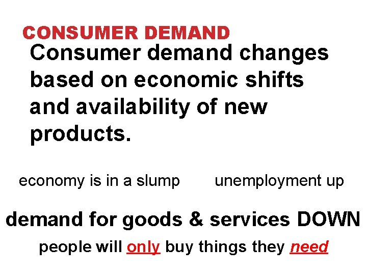 CONSUMER DEMAND Consumer demand changes based on economic shifts and availability of new products.