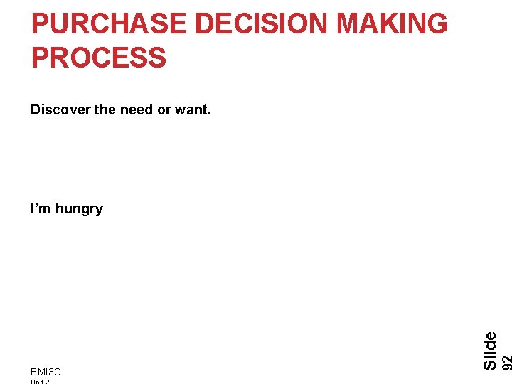 PURCHASE DECISION MAKING PROCESS Discover the need or want. BMI 3 C Slide I'm