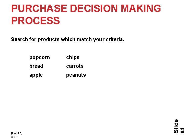 PURCHASE DECISION MAKING PROCESS BMI 3 C popcorn chips bread carrots apple peanuts Slide