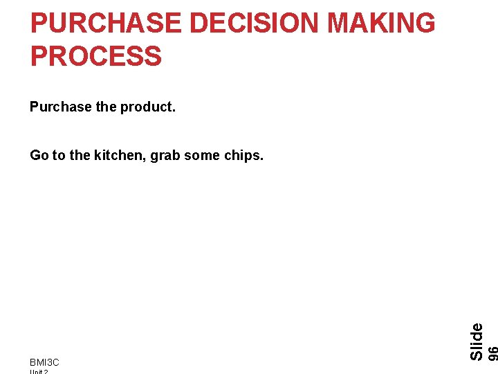 PURCHASE DECISION MAKING PROCESS Purchase the product. BMI 3 C Slide Go to the