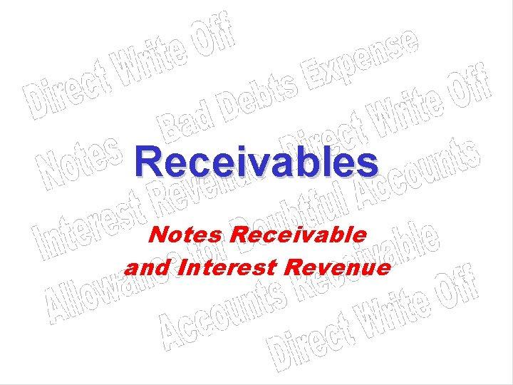 Receivables Notes Receivable and Interest Revenue