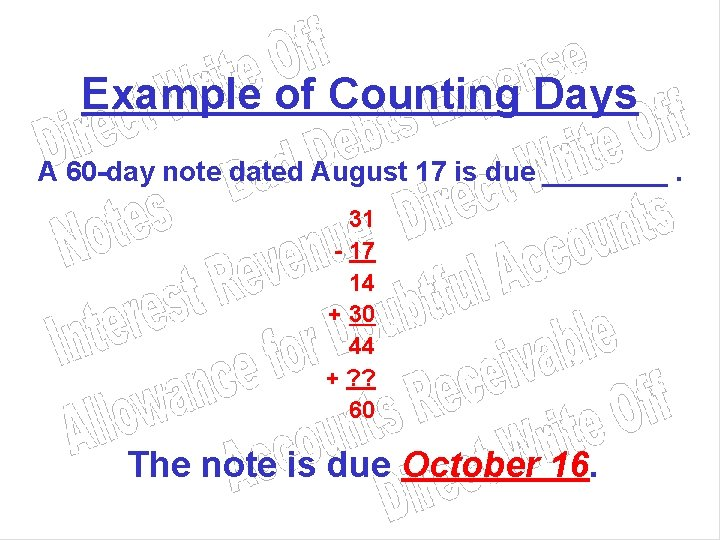 Example of Counting Days A 60 -day note dated August 17 is due ____.