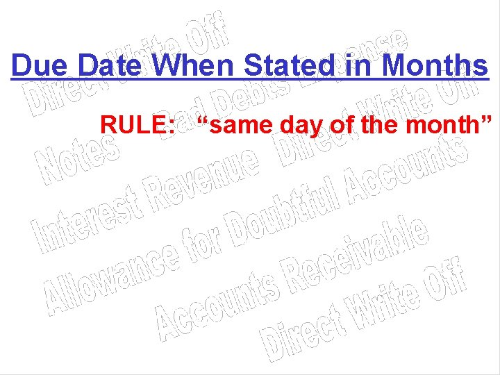"""Due Date When Stated in Months RULE: """"same day of the month"""""""
