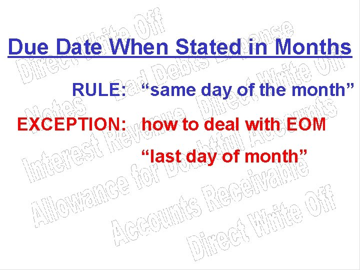 """Due Date When Stated in Months RULE: """"same day of the month"""" EXCEPTION: how"""