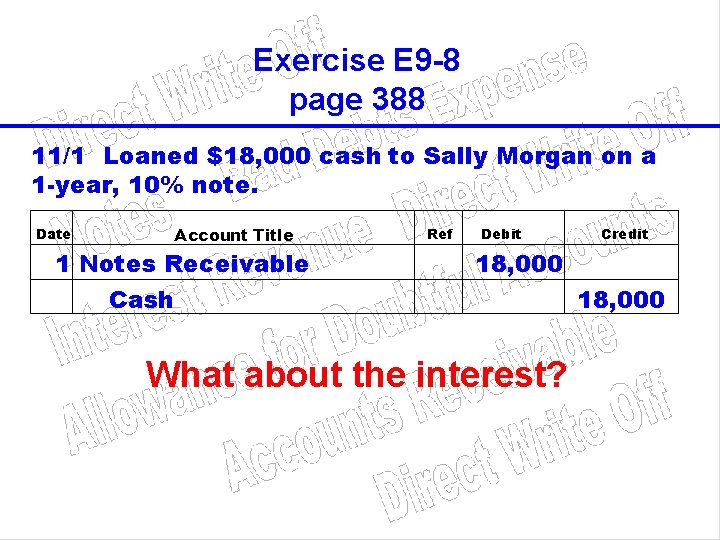 Exercise E 9 -8 page 388 11/1 Loaned $18, 000 cash to Sally Morgan