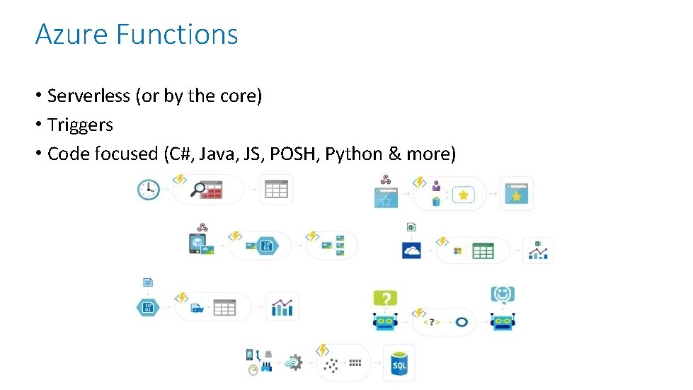 Azure Functions • Serverless (or by the core) • Triggers • Code focused (C#,