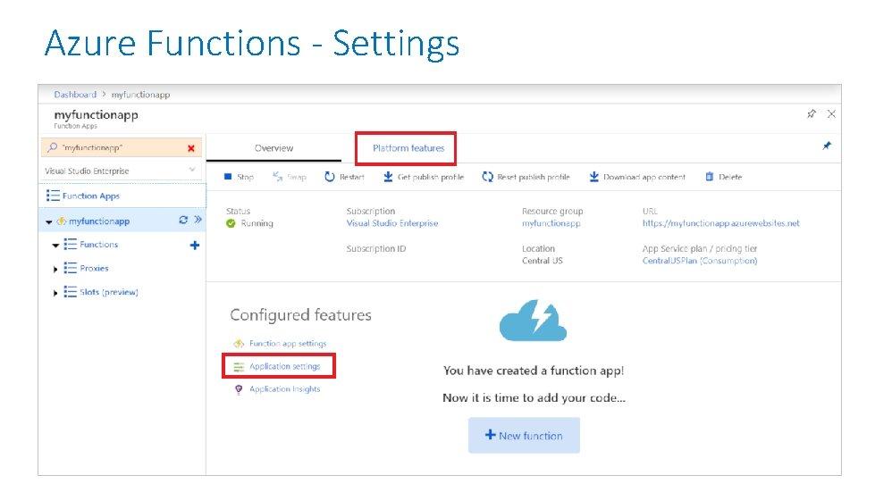 Azure Functions - Settings