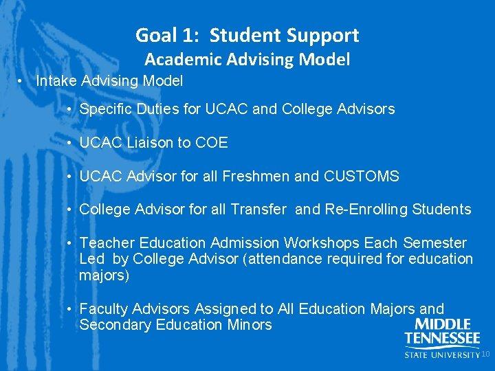 Goal 1: Student Support Academic Advising Model • Intake Advising Model • Specific Duties